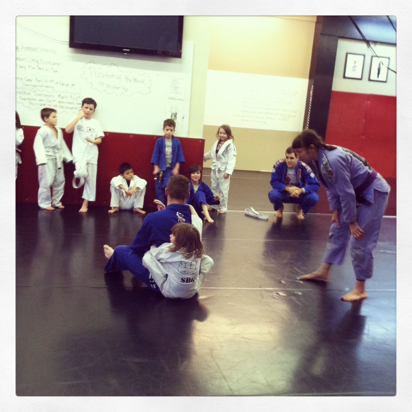 Kids martial arts class The beginning of a kids class Ironman.