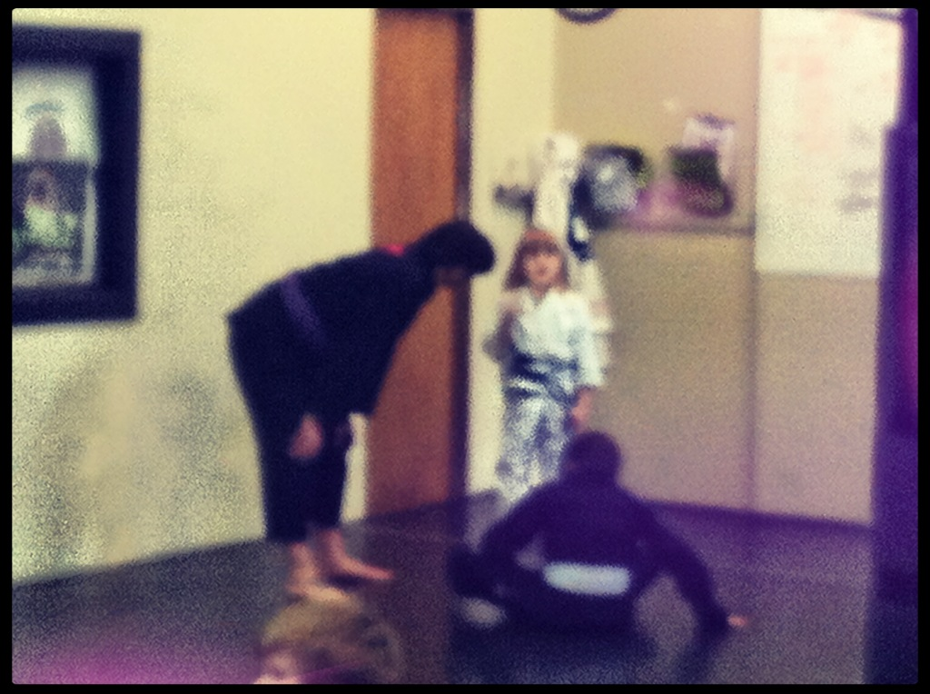 Coaching in kid's martial arts class