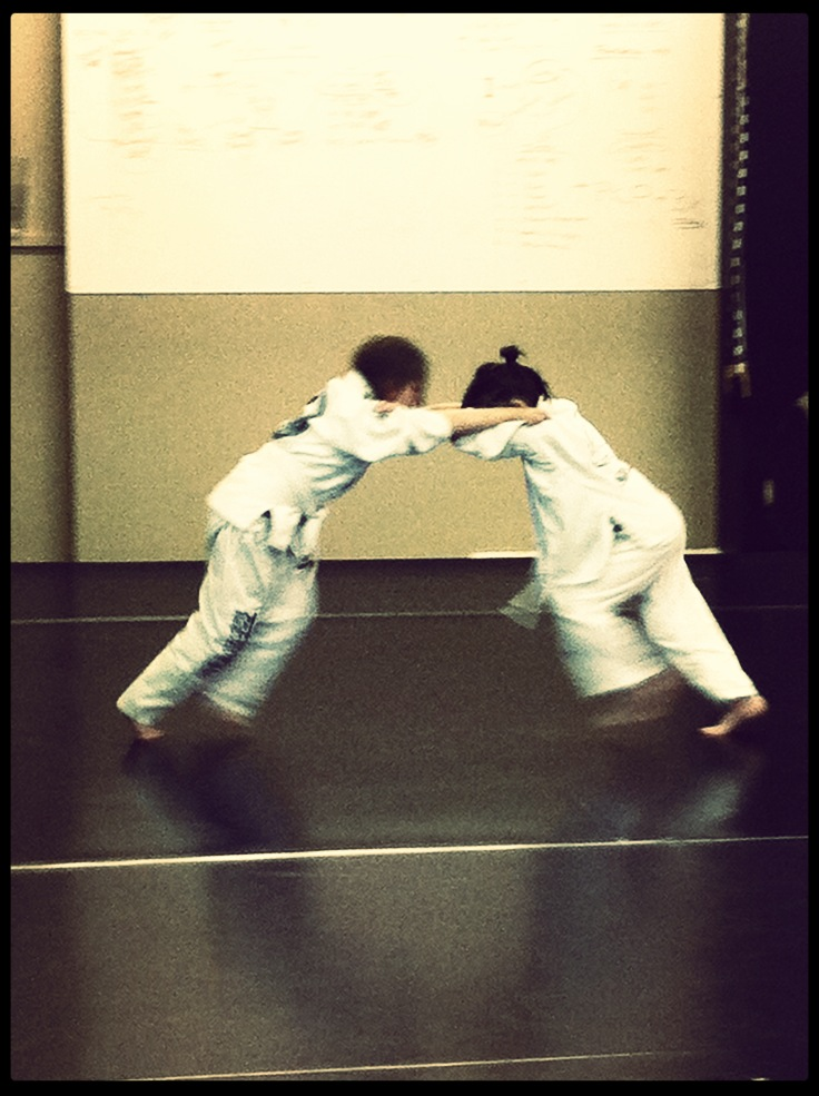 Live matches in kids martial arts class.