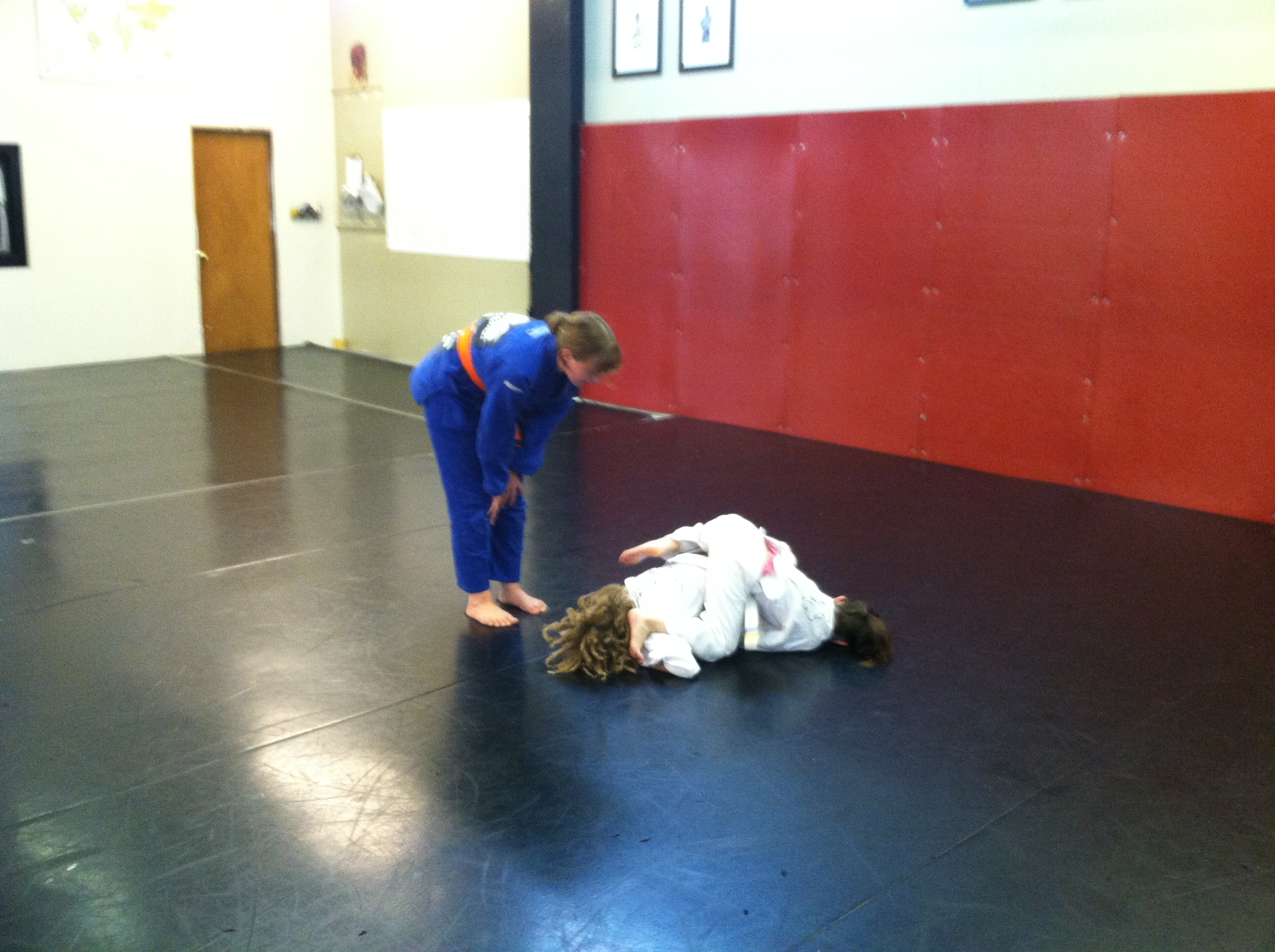 Coaching kid's martial arts class