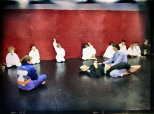 kid's martial arts class in session