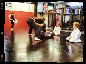 Demonstrating in kid's martial arts class