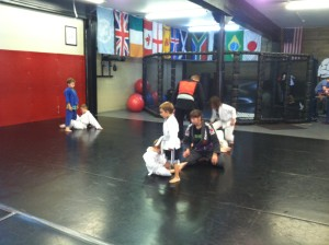 Kids matches in kid's martial arts class