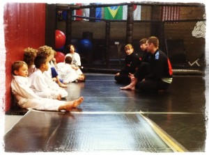 Reviewing in kid's martial arts class